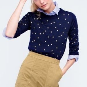 NEW J. Crew Navy Embroidered Stars Tippi Sweater